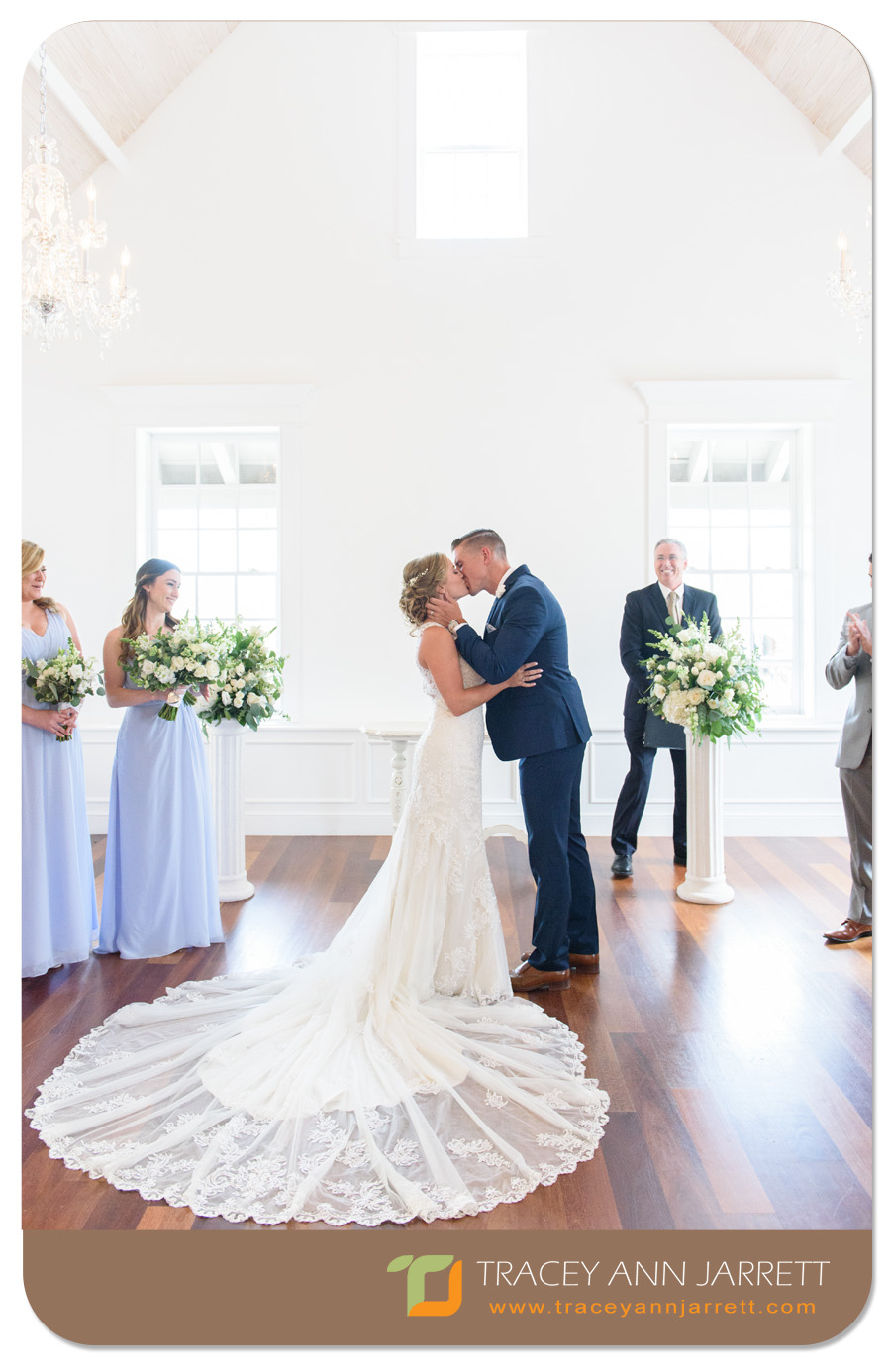 Bride and Groom first kiss St. Augustine wedding in the White Room